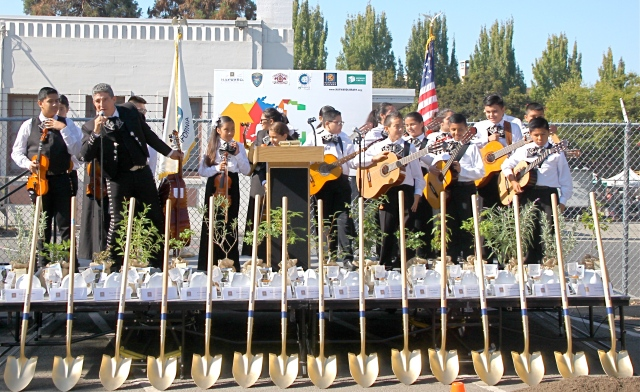 Mariachi Juvenil de Hayward, a nonprofit youth musical troupe led by City of Hayward employee Juan Varelas, perform at the ground breaking celebration on October 3, 2015.